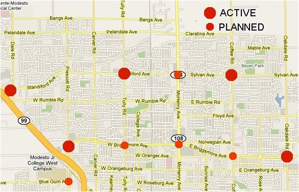 Map of Modesto red light camera locations