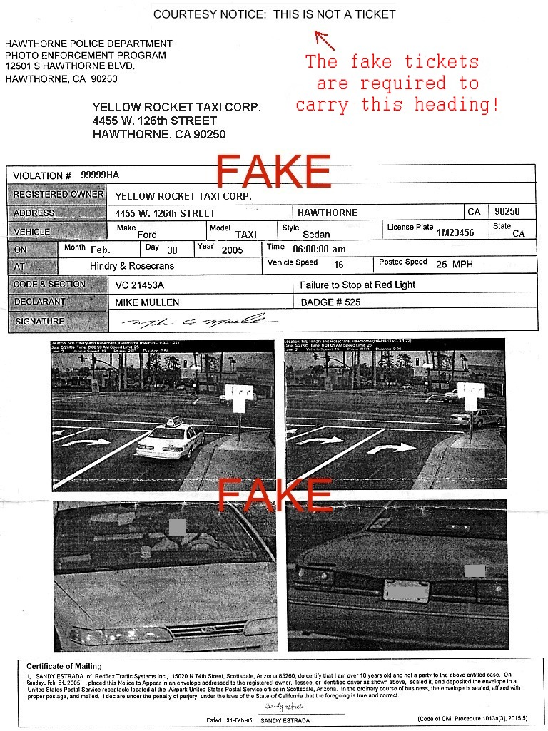 Wonderful Fake Red Light Camera Ticket, Aka Snitch Ticket Idea