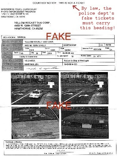 Fake red light camera ticket, aka Snitch Ticket