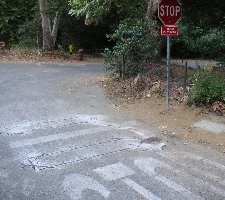 Loops cut into pavement, Franklin Canyon - click 