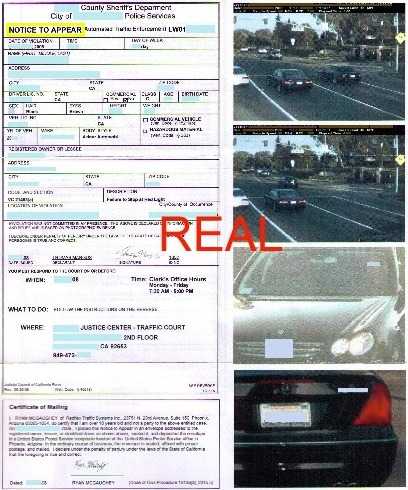 Real California red light camera ticket