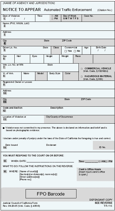 Official format, Notice to Appear - Calif. only
